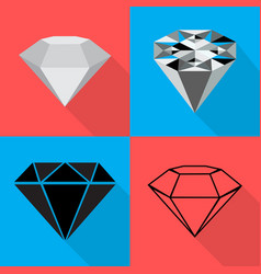 four different diamond on backgrounds in flat vector image