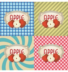 Four types of retro textured labels for apple vector