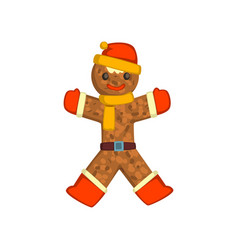Gingerbread man holiday cookie christmas vector
