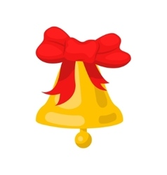 Golden bell cartoon wit red bow ribbon vector image