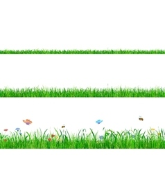 Green grass banner collections with flowers vector