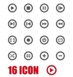 Grey media buttons icon set vector