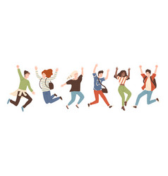 group of young joyful laughing people jumping with vector image