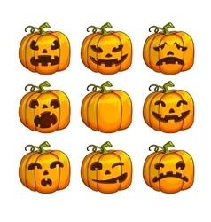 Halloween scary pumpkins set of different vector