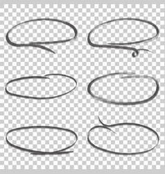 hand drawn circles icon set collection of pencil vector image