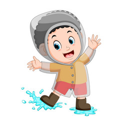 happy boy wearing raincoat vector image