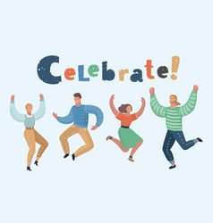 happy group people jumping vector image