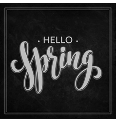 Hello Spring lettering chalk design vector
