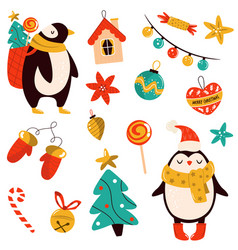 holiday set with cute penguins and decorative vector image