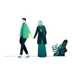 Islamic couple young man and woman walking vector