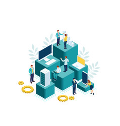 isometric people work in a team and achieve the vector image