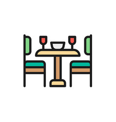kitchen table and chairs flat color line icon vector image