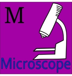 M letter alphabet Coloring microscope vector image