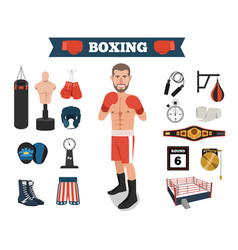 male boxer with boxing equipment tools vector image