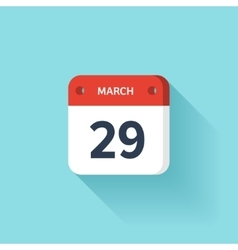 March 29 Isometric Calendar Icon With Shadow vector image