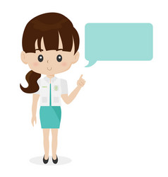 Medical staff pharmacist girl with speech bubble vector