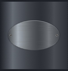Metal perforated background with oval steel plate vector