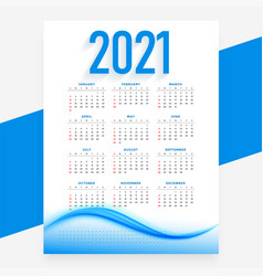 Modern blue 2021 new year calendar design wavy vector