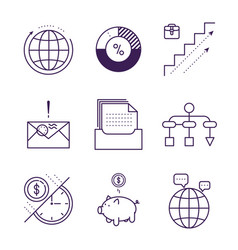 money and analytics symbols object outline vector image