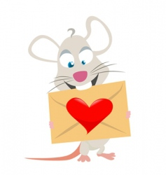 mouse with love symbol vector image