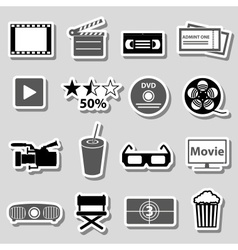 movie and cinema grayscale stickers set eps10 vector image