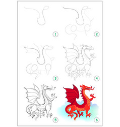 Page shows how to draw step step cute red vector