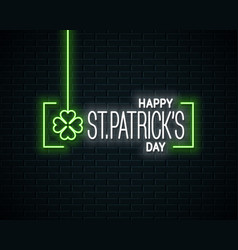 patrick day neon banner neon sign of patricks day vector image