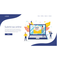 People submit tax by online vector