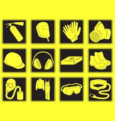 Personal safety equipment icons vector