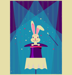 rabbit in magical hat magic show background vector image