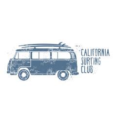 Retro van with surfboards on ro- minibus vector