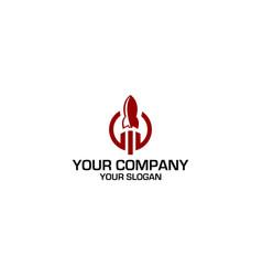 rocket growth financial logo design vector image