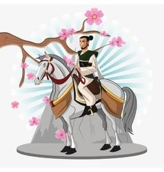 Samurai and horse cartoon design vector image