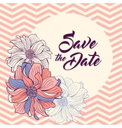 save date card flowers on chevron background vector image