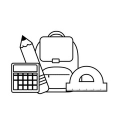 School bag with calculator and set supplies vector