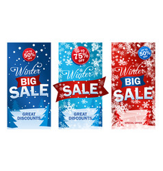 set bright vertical sale roll up vector image