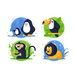 set icon animals with lion penguin monkey vector image