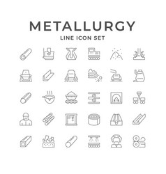 Set line icons metallurgy vector
