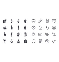 set of drinks beer and cocktails icons vector image