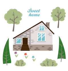 Set of isolated houses trees and plants vector