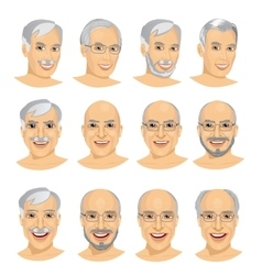 set of mature man avatar with different hairstyles vector image