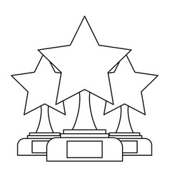 Set of trophy stars winner leadership competition vector