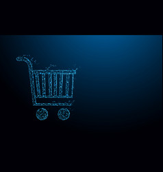 shopping cart form lines triangles and particle vector image
