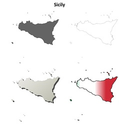 Sicily blank detailed outline map set vector