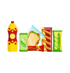 Snack product set fast food snacks drinks juice vector