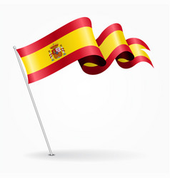 Spanish pin wavy flag vector