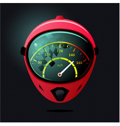 Sport race helmet with spedometer on reflection vector