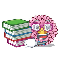 Student with book gerbera flowers in the cartoon vector