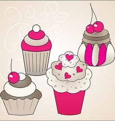 sweet cute cakes vector image