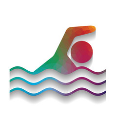 swimming water sport sign colorful icon vector image